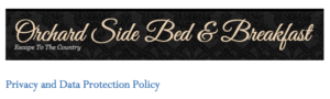 Orchard side Bed and breakfast privacy and data protection policy