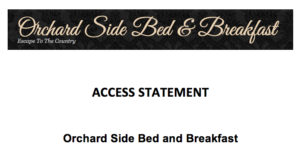 Access statement at orchard side malvern bed and breakfast