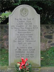 Alice Elgar buried at St Wulstans Church, Little Malvern